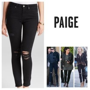 Paige Hoxton black distressed skinny ankle jeans